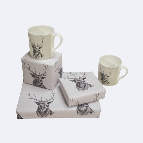 grey stag wrapping paper giftwrap